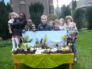 class with easter garden
