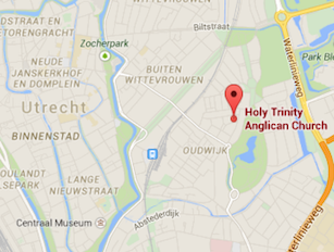 map of Utrecht with Holy Trinicty Church Pinpointed