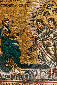 Creation of the Light and the Angels, artist unknown, mosaic, Italy, Sicily, Monreale Cathedral, 12-13th century