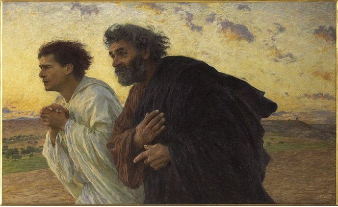 "Easter - ""The Disciples Peter and John Running to the Sepulchre on the Morning of the Resurrection"" by Eugène Burnand"