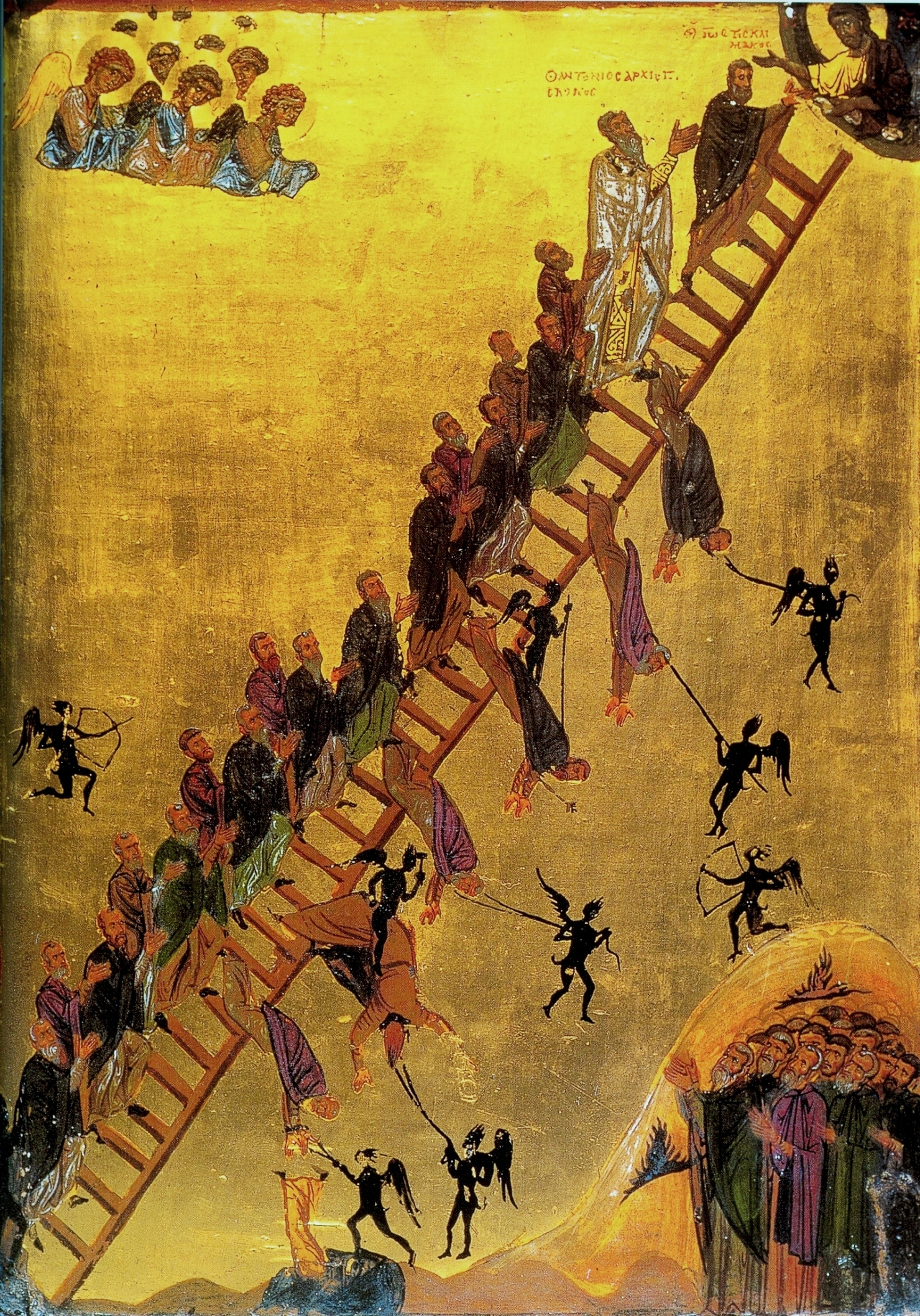 Icon of the Ladder of Diving Ascent, St Catherine's Monastery, Sinai, 12th century