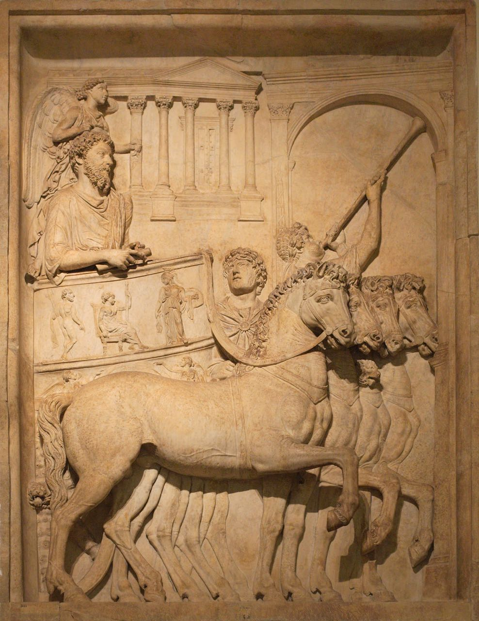 Triumph Chariot, bas relief from Arch of Marcus Aurelius in Rome, 2nd century.